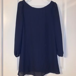 Navy blue dress with cross back detail XS
